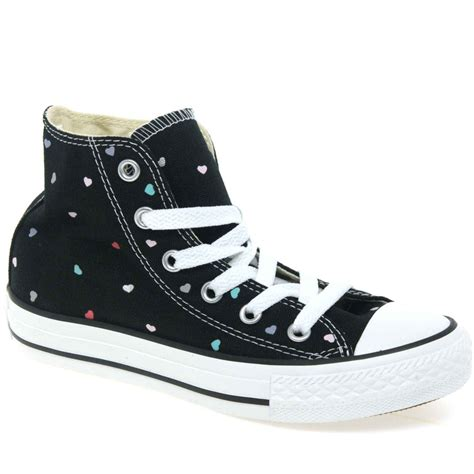 black pattern converse converse all star youth heart pattern black hi tops