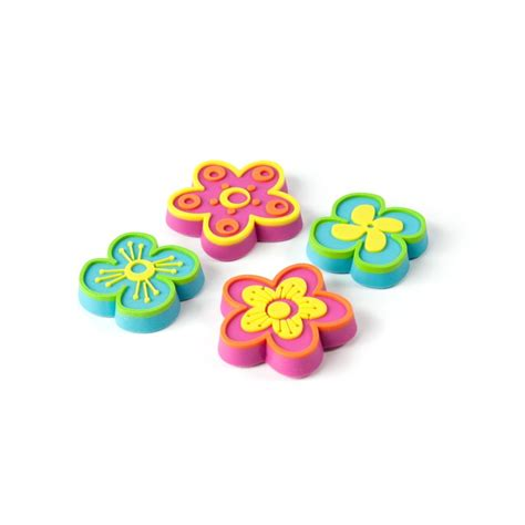 Assortment Of Four Magnets assorted rubber expression magnets flowers