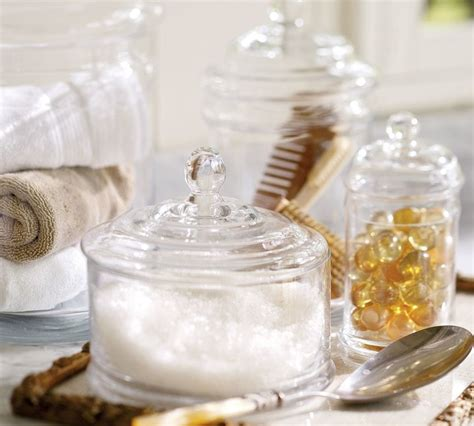 bathroom glass canisters pb classic glass canister traditional bathroom canisters other metro by