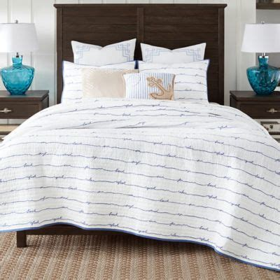 coastal bedding quilts coastal living 174 sand script quilt set bed bath beyond