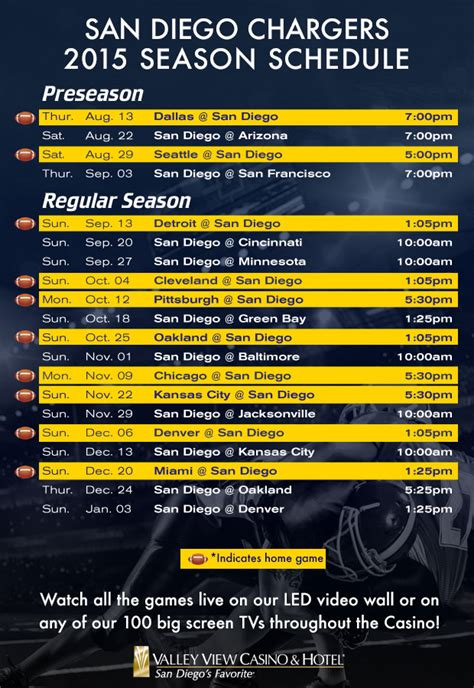 san diego chargers football schedule 2014 the chargers at valley view casino and hotel