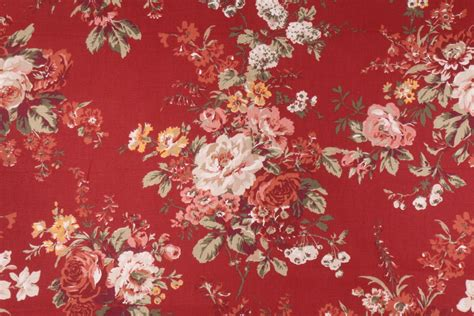 red drapery fabric waverly rose floral printed cotton drapery fabric in red