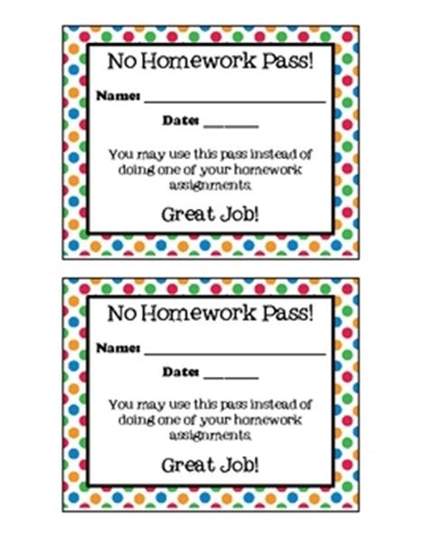 free homework pass template best 25 homework pass ideas on student