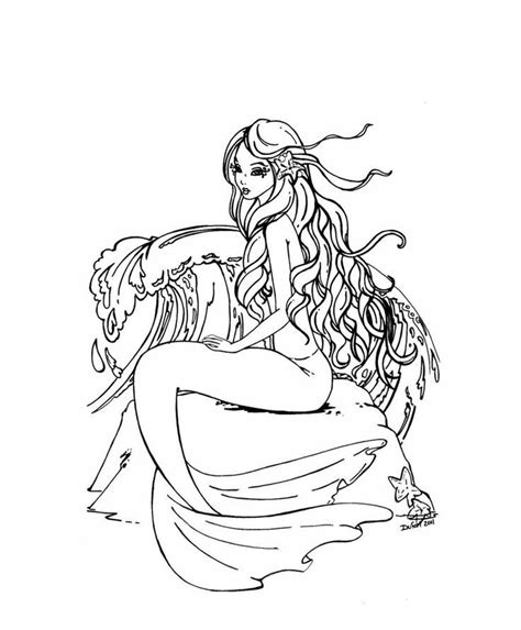 hard coloring pages of mermaids free coloring pages of hard mermaid