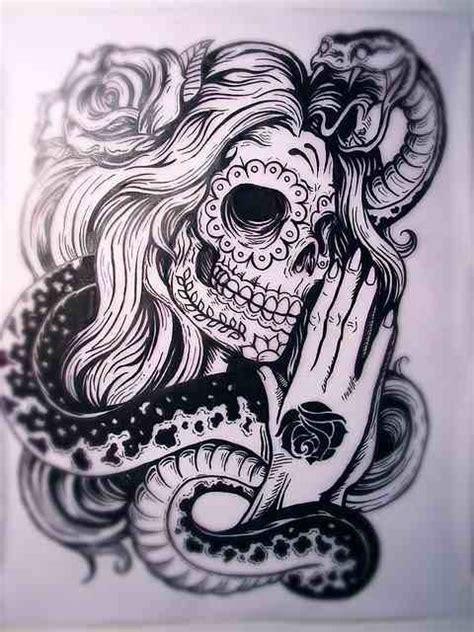 skull snake rose tattoo sugar skull snake tatt s