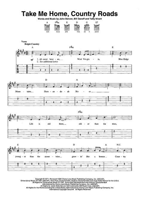 take me home country roads sheet for piano and