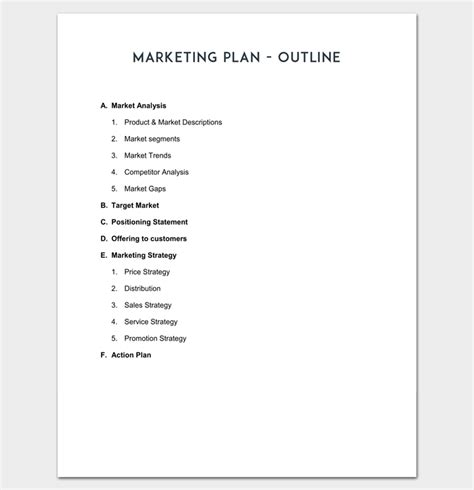 marketing plan outline template 16 exles for word