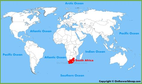 south africa location   world map