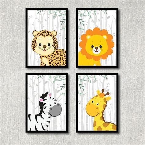 kinderzimmer deko poster bild dschungel tiere kunstdruck a4 afrika safari poster