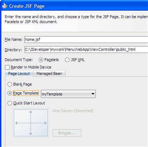 layout jsf oracle jdeveloper 11g release 2 tutorials creating adf