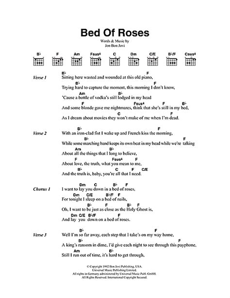 bed of roses lyrics bed of roses sheet music by bon jovi lyrics chords 48209