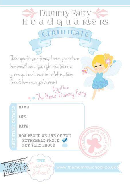 dummy fairy certificate print   downloadable personalised ebay nursery rooms