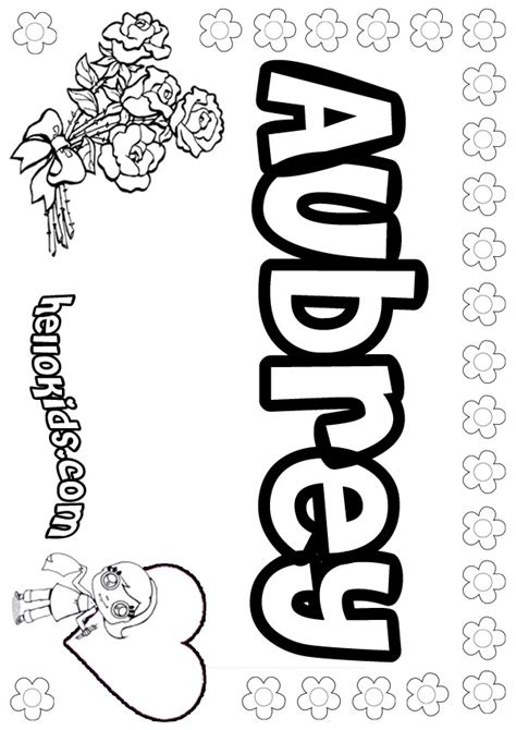 coloring page with name aubrey coloring pages hellokids com