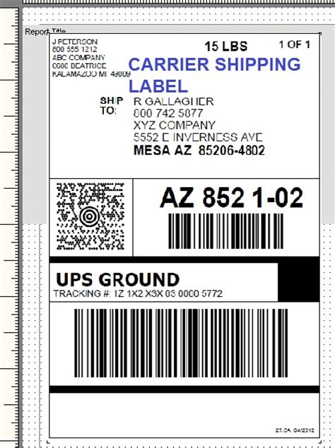 shipping label template printing setup