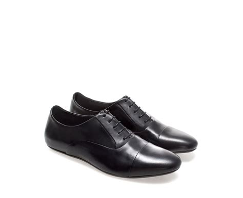 zara shoes for zara basic leather oxford shoe in black for lyst