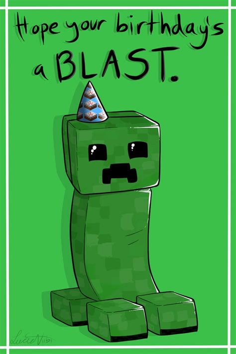 minecraft birthday card template creeper birthday card by lucieniibi on deviantart