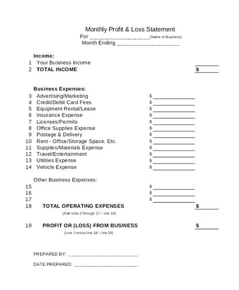 Sle Invoice Statement Viqoo Club Monthly P L Statement Template