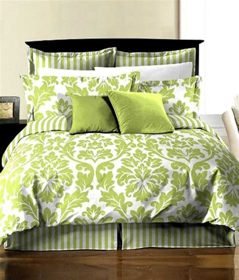 White Comforter With Green Leaves by Chezmoi Collection 8 Soft Microfiber Reversible