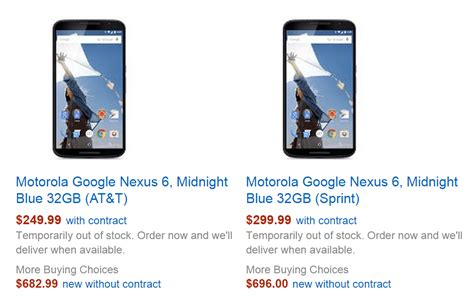 psa oem unlock on the nexus 6 and 9 requires checking a psa at t and sprint nexus 6 variants now available at