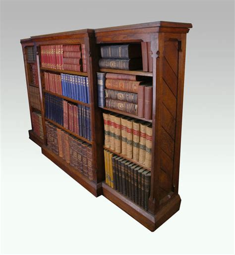 a gothic oak open breakfront bookcase for sale antiques