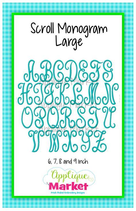 printable font size scroll monogram large sizes applique