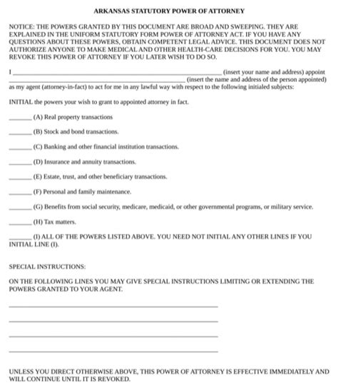 Download Arkansas Power Of Attorney Form For Free Formtemplate Arkansas Living Will Template