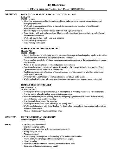 trading resume sles velvet