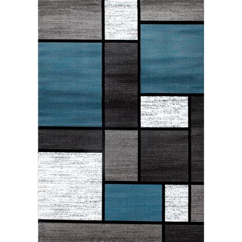 Contemporary Modern Boxes Blue Gray 5 Ft 3 In X 7 Ft 3 Blue Contemporary Area Rug
