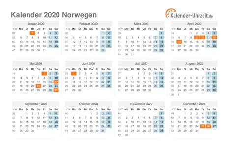 feiertage  norwegen kalender uebersicht