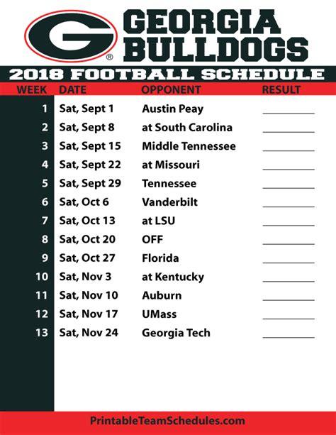 Printable Uga Schedule   2018 printable georgia football schedule