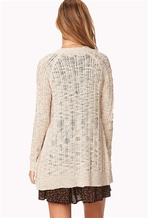 Forever21 Soft Knit T3010 3 lyst forever 21 soft cable knit cardigan in
