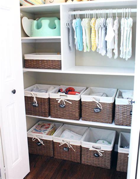 Baskets For Closet Organization by Baby Closet Organization With Basket Shelf