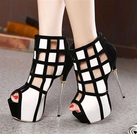 black and white high heels two tone heel trends in white and black womenitems