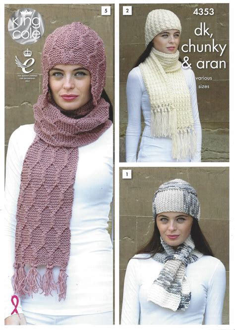 chunky aran knitting patterns king cole 4353 accessories knitting pattern in dk chunky