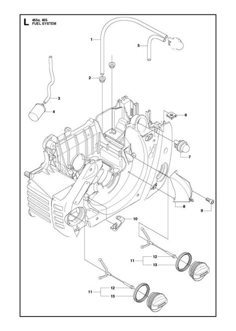 husqvarna 445 chainsaw parts diagram husqvarna 455 rancher chainsaw fuel system spare parts diagram