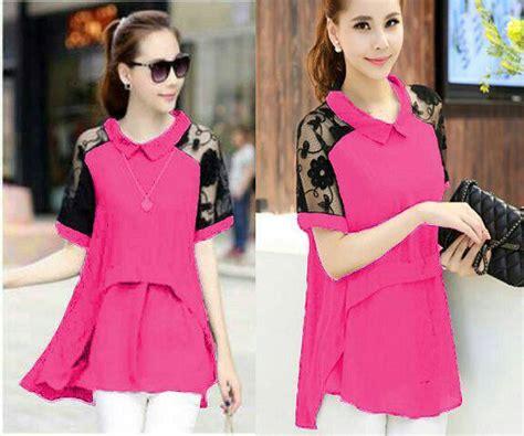 Dress Wanita Movina Katun Pink baju blouse pink atasan wanita cantik terbaru murah