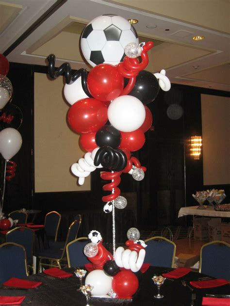 Soccer Topiary Centerpiece Sports Theme Balloon Soccer Banquet Centerpiece Ideas