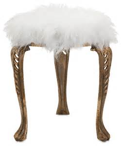 Vanity Stool Fur Chu Neely White Fur Stool 19980 Contemporary