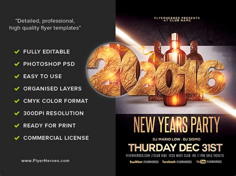 New Year Party Flyer Template Flyerheroes New Years Flyer Template