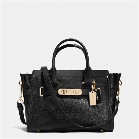 Coach Swagger 27 In Smooth Leather Black swagger 27 in pebble leather coach 344 54 00 coach