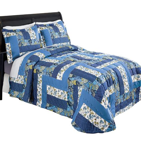 Blue Quilted Bedspread Caledonia Blue Floral Quilted Bedspread Ebay