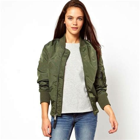 Jaket Bomber Army Ziper aliexpress buy womens army green jacket sleeve