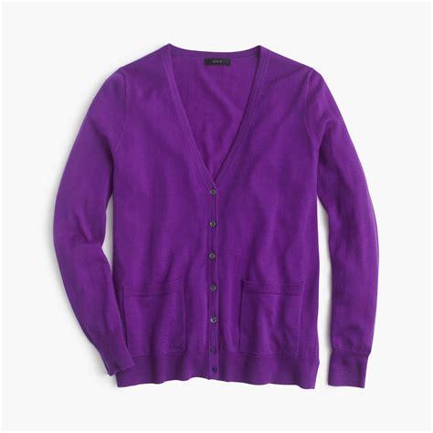 Cardigan Sweater Wanita Purple Knitted 328017 j crew classic merino wool cardigan sweater in purple purple lyst