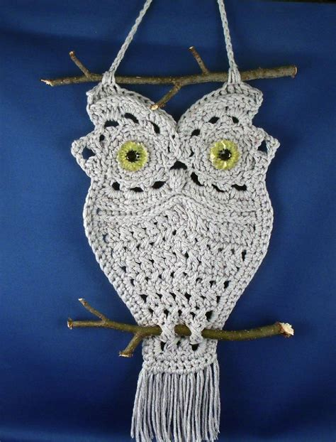 Macrame Knitting - owl hanger in macrame style crochet pattern by thomasinac