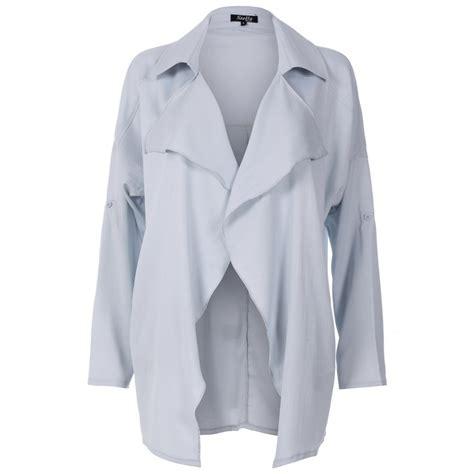 light blue coat womens womens light blue chiffon waterfall jacket