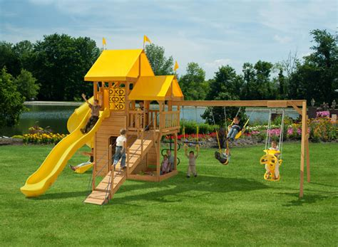 playmor swing sets play mor 567 afternoon retreat wooden swing sets