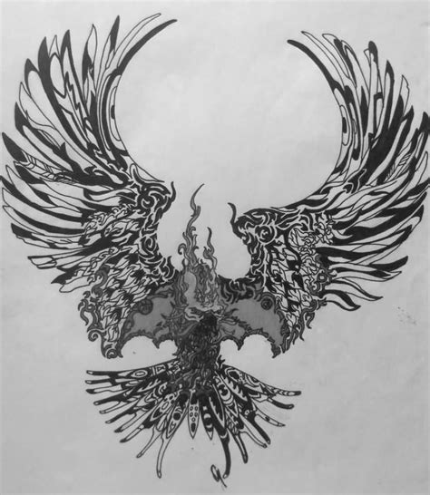 black and white phoenix tattoo designs unique flying design by rugely