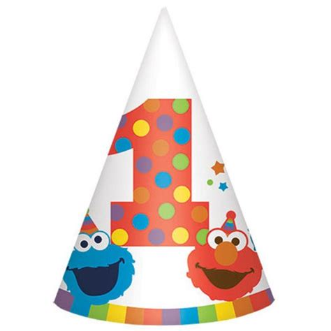How To Make Paper Cone Hats - elmo turn one paper cone hats wear