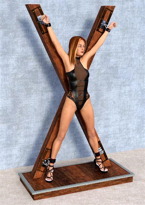 girl tied to bench bondage set standrew cross daz studio sharecg