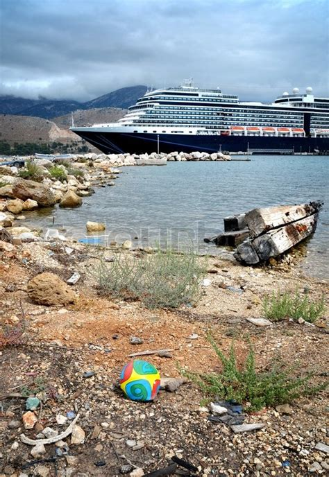yellow boats kefalonia prices cruise ship in port kefalonia greece stock photo